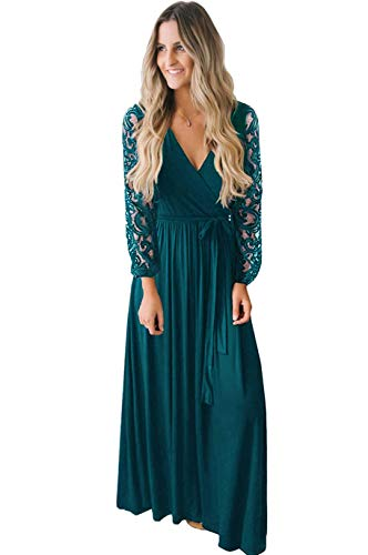 Kranda V Neck Floral Lace Long Sleeve Cotton Solid Maxi Dress for Women Teal Green XXL