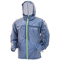 Rain jacket with adjustable, attached hood with E-Z Push cord locks Zippered side pockets Hook-and-loop adjustable wrists Adjustable cord-lock waist Self-contain pocket
