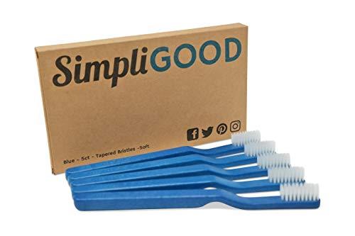 SimpliGOOD Toothbrushes - Soft Ultra-Fine Bristles, BPA-Free Plant Based Plastic Toothbrush - Soft Bristles - (5 Count)