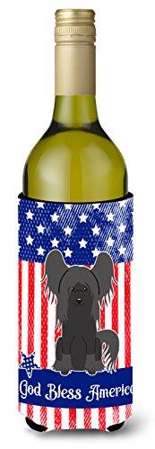 Caroline tesoros del bb3107literk patriótico EE. UU. crestado chino negro botella de vino aislante beverge Hugger, para botella de vino, multicolor