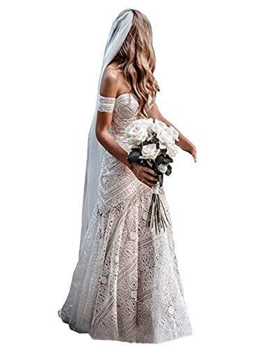 The Peachess Damen Bohemian Brautkleider mit abnehmbaren Armbändern Sweetheart Meerjungfrau Spitze Country Brautkleid - - 36
