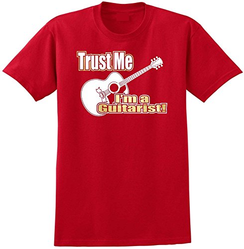 MusicaliTee Acoustic Guitar Trust Me - Red Rot T Shirt Größe 87cm 36in Small