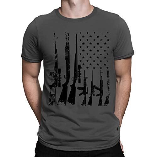 SpiritForged Apparel Distressed USA Gun Flag Men's T-Shirt, Charcoal Large