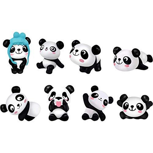 Figuras de Panda,8 Piezas Figuras Animales Decoracion Tarta Figuras de Acción de Panda para Decoraciones de la Fiesta Muñecas de Jardinería