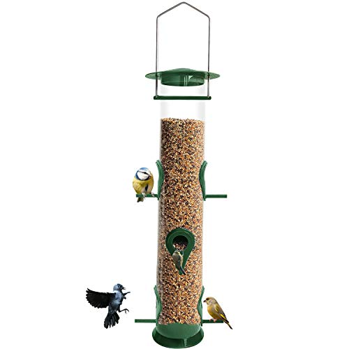 Water-Resistant Bird Feeder Hanging Classic Seed Tube Hanging with 6...