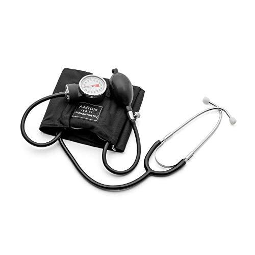 Tensiómetro aneroide con Fonendo AARON® | brazalete ajustable. Kit profesional para la medición de tensión arterial con fonendo. Esfigmomanómetro aneroide.