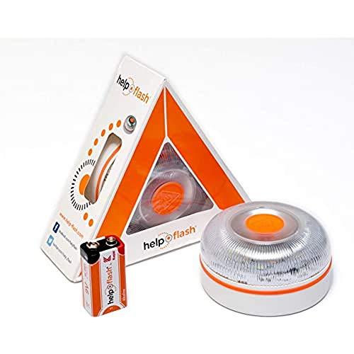 Help Flash 2.0 - Luz de emergencia autónoma - Señal V16 de preseñalización de peligro homologada, autorizada por la DGT