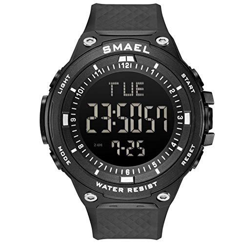 SMAEL Reloj Digital de los Hombres Pantalla LED Cronógrafo Militar Relojes Grandes Deportivos Alarma Impermeable Reloj de Pulsera de Reloj 1813,Negro