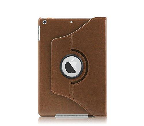 KHOMO drehbare Kunstlederhülle, um 360 Grad drehbar, mit Magnet, Smart-Hülle für Apple iPad Air, braun