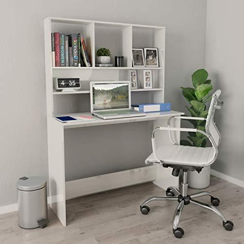 Irfora Schreibtisch Computertisch mit Regal Bürotisch PC Tisch Officetisch Arbeitstisch Gaming Tisch Desk Laptoptisch Büromöbel, Hochglanz-Weiß 110×45×157 cm