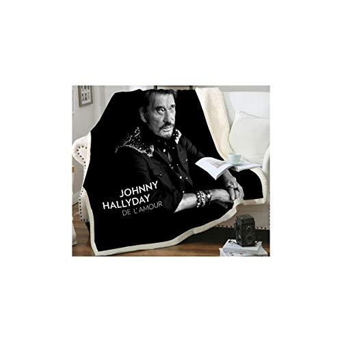 Plaid Imprimé à l'effigie de Johnny Hallyday - 150 x 200 cm - Flanelle Polaire
