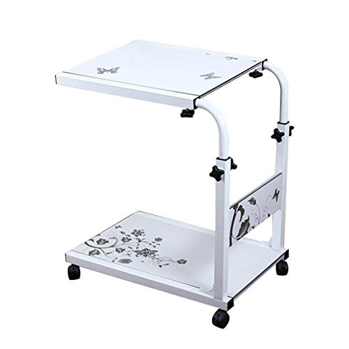 GY laptop tafel, in hoogte verstelbare mobiele laptop bureau kar, bed studie bureau bureaublad schalen werkstation, draagbare winkelwagen houder wit, 60-90cm