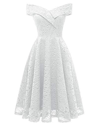 LA ORCHID Laorchid Mode Damen Spitze Abendkleider Brautjungfern Kleid Cocktail Party Ärmlos Weiss L