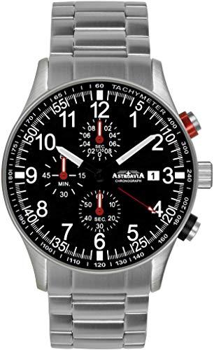 Astroavia Herren-Armbanduhr Chronograph Quarz mit Edelstahl Armband N38S