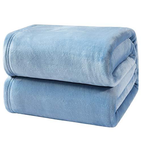 Bedsure Mantas para Sofás de Franela 270x230 cm - Mantas para Cama de 180 Reversible de 100% Microfibre Extra Suave - Manta Invierno Azúl Transpirable