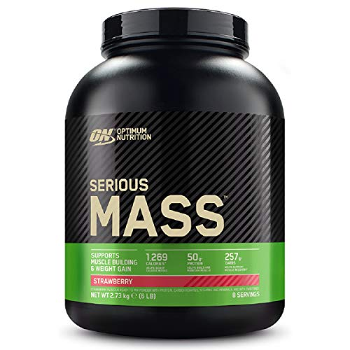 Optimum Nutrition Serious Mass Protein Powder High Calorie Mass Gainer with Vitamins, Creatine and Glutamine, Strawberry, 8 Servings, 2.73 kg, Packaging May Vary