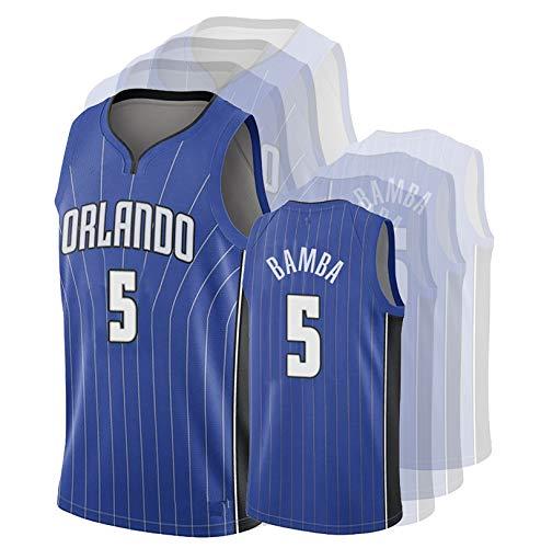 DULI Jersey de Baloncesto de los Hombres Magic 5# Bamba Swingman Bordery...