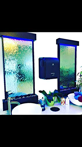 Jersey Home Decor Wall Waterfall XL 46' Tall x 22' Water Fountain, Black Frame, Color Lights Remote Ctrl
