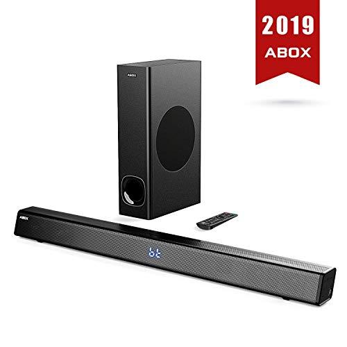 Soundbar con Subwoofer, ABOX 120W Altoparlante 2.1 Canali, Sistema Home Cinema Suono Surround 110db Bluetooth 4.2 a Wireless & Cablata Compatibile TV/Cellulare/PC per Casa/Bar/Montaggio a Parete