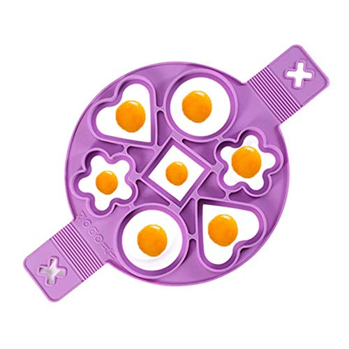 Eier-Omelett-Maker mit 7 Löchern, 4 Formen, antihaftbeschichtetes Silikon, Herz & Blume & Kreis & quadratische Pfannkuchen-Form, für mehr Spaß, für Topf, Pfanne, Herd, Mikrowelle, plus Backpinsel