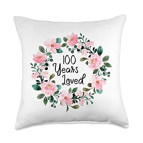 Mom Grandma 100th Birthday Gift Apparel Loved Men Women 100 Years Old Cool 100th Birthday Throw Pillow, 18x18, Multicolor