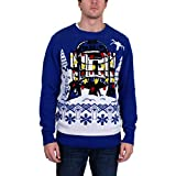 STAR WARS Men's R2D2 Gift Wrap Sweater, Royal, Large