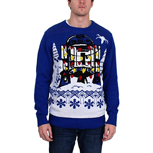 Star Wars Men's Ugly Sweater, R2D2&Christmas Lights/Royal, XX-Large