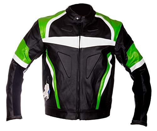 WinNet Giacca giubbotto in di pelle per moto da donna femminile con protezioni verde