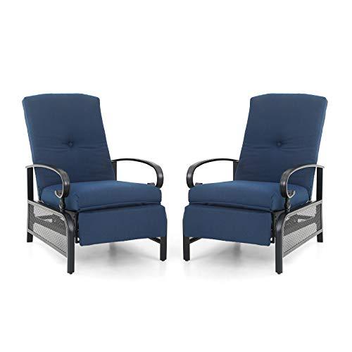 Sophia & William Adjustable Patio Recliner Chair Set of 2 Metal Outdoor...