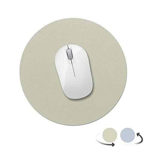 AtailorBird Mauspad Runde Office Mauspad rutschfeste Mousepad doppelte Farbe wasserdicht PU Leder Matte für PC, Computer und Laptop - Hellgrün und Azure