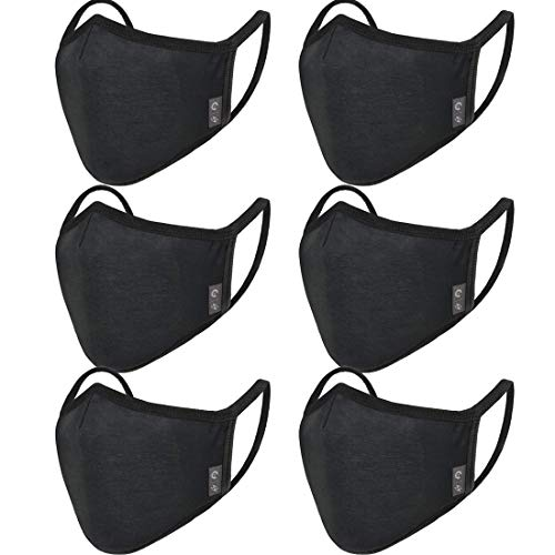 6-Pack Unisex Washable Reusable Cover - Triple Layer Cover for Dust Particle & Droplet Protection - Dust Warm outdoor Cover Black - Ship From USA