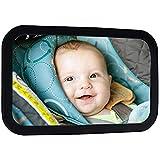 ベビーミラー 車用 赤ちゃんミラー 赤ちゃんの車のミラー用バックシートベビーカーシートミラーの安全性と広い赤ちゃんのリアビューミラーにはを参照してください後向き幼児 (Color : Black, Size : 29.8×18.7cm)
