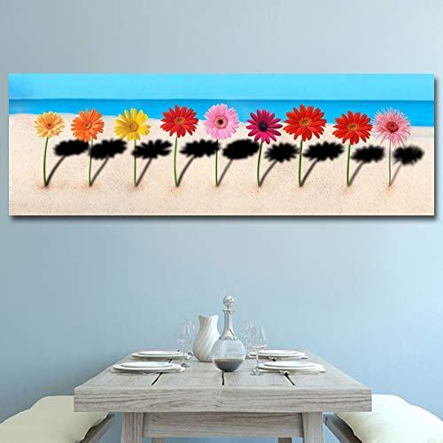 yiyiyaya Leinwanddrucke, die Moderne Blumen auf der Strand-Landschafts-Wandkunst-Plakat malen und Bilder für Wohnzimmer drucken 50x150cm