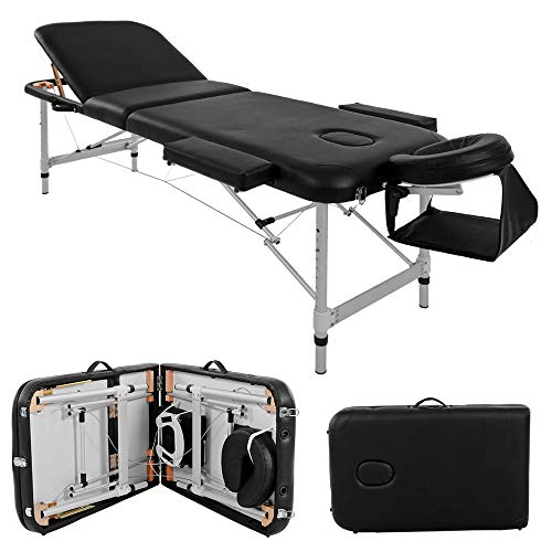 Massage Table Couch Bed Aluminium Deluxe Lightweight Professional Beauty Tattoo Spa Reiki Portable Folded 3 Section with Premium PU Leather and 5 cm High Density Multi-Layer Foam Headrest Arm support and Carrying Bag Black (213cm/15kg/Load Capacity 250 kg)