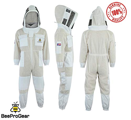 Bee Suit SFV 3X Layers Sicherheit, Unisex White Fabric Mesh Imkeranzug, Imkeranzug Bee Veil Imker Outfit Imker Hut Fencing Veil (M)
