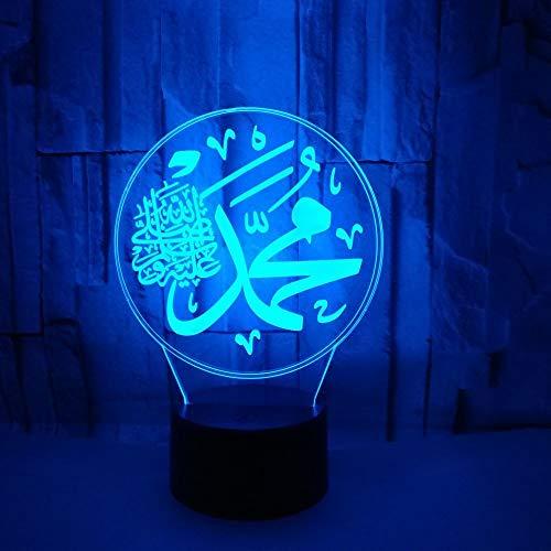 Kreative 3D Islamische Dekorative Lichter Nachtlicht 7 Farben Andern Sich USB Adapter Touch Schalter Dekor Lampe Optische Täuschung Lampe LED Lampe Tisch Kind Geburtstag Weihnachten Geschenke