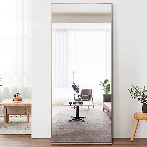 "PexFix Full Length Wall Mirror Door Mirror Matte Metal Frame Modern Rectangle Decor Home Full Body Mirror Dressing Mirror 47""x16"" Black Mirror"