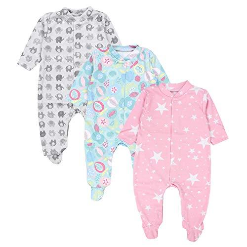 TupTam TupTam Baby Mädchen Schlafstrampler mit Fuß 3er Pack, Farbe: Farbenmix 2, Größe: 86