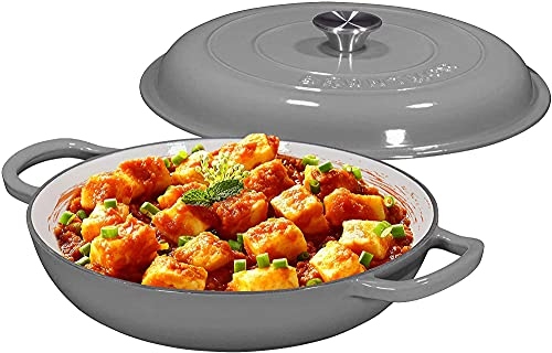 Enameled Cast Iron Shallow Casserole Braiser Pan with Cover, Cast Iron Covered Casserole Skillet 3.8-Quart, Enameled Grey