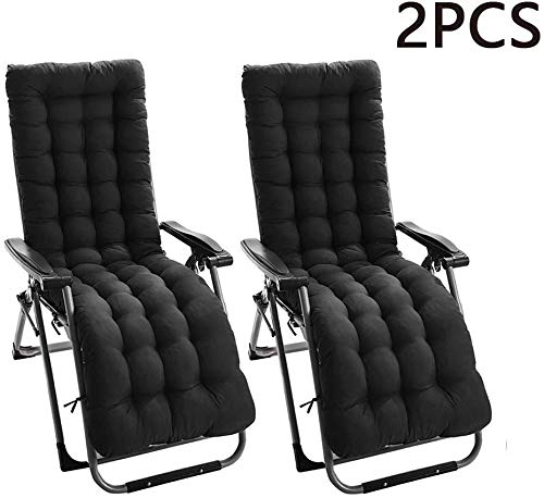 Bhu Sun Lounger Cushion Pads Portable Garden Patio Thick Relaxer Chair Seat Cover for Travel Holiday Garden Indoor Outdoor,Black,2Pcs