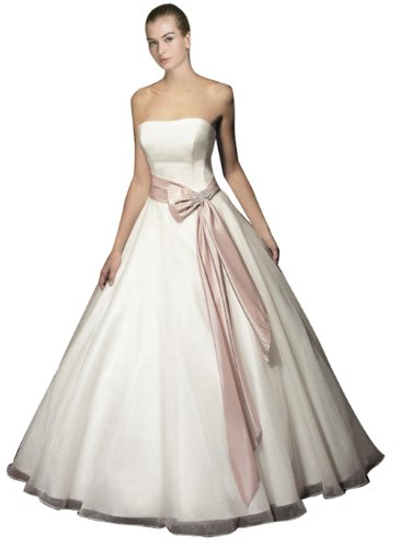Wedding House Duchesse-Linie BRAUTKLEID Hochzeitskleid Organza Satin Trägerlos mit Schärpe MS130065 (46, Elfenbein)