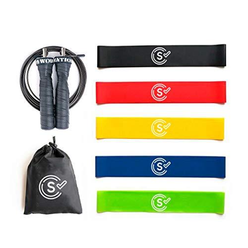 Self Ideas - Kit de Ejercicios: Bandas elásticas y Comba de Velocidad. Gomas elásticas Fitness + Cuerda para Saltar. Bandas de Resistencia + Cuerda de Crossfit.