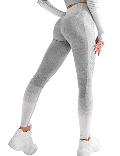 KIACIYA Yoga Leggings Damen, Teenager Mädchen Bunt Streifen High Waist Yoga Hosen Hoher Gestreift Leggins Sportleggins Jogginghose Training Laufende Leggings Fitness Sport Leggings Yogahosen (Grau,M)