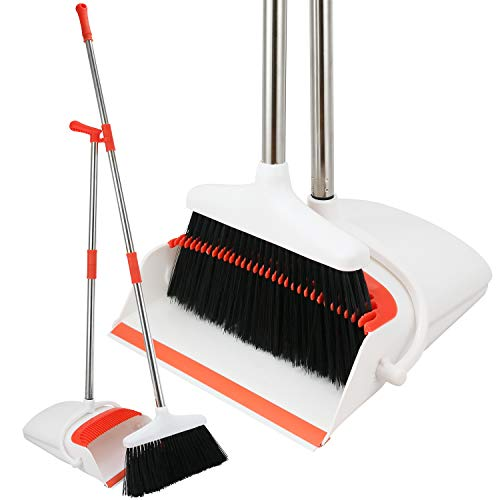 Broom and Dustpan Set - Upright Standing Dust Pan with Extendable Broomstick