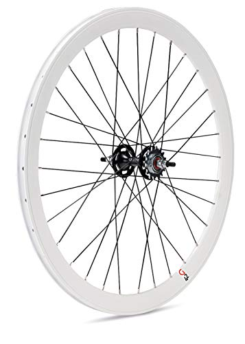 Gurpil 64374 Ruota Posteriore per Bicicletta, da Pista, a Scatto Fisso, 42 mm, cerchione Bianco