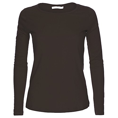 Camiseta de manga larga para mujer, cuello redondo, diseño liso. Tallas S-XL Marrón chocolate S/M Para encaja 36-38