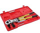 VEVOR Pressatrice Multistrato Manuale 4 Matrici Th 16-20-25-32mm Crimpatrice Idraulica Professionale con Calibratore a Molla di Torsione per Tubi Multistrato