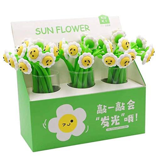 N\C Bolígrafos de flores, bonito girasol con luz neutra, bolígrafo de dibujos animados girasol, bolígrafo de agua con cara sonriente y luz de flores, bolígrafos de flores para oficina