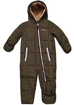 Ben Sherman Baby Boys Bubble Snowsuit Polar Fleece Lined Pram with Sherpa Fur Hood  Newborn/Infant  Size 3-6 Olive Puff