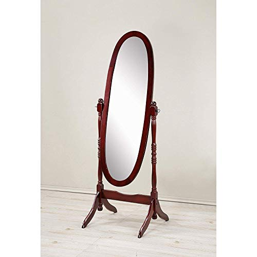 GTU Furniture Swivel Adjustable Full-Length Oval Wood Cheval Floor Mirror, in White/Black/Cherry/Oak/Silver/Gold Finish (Cherry)
